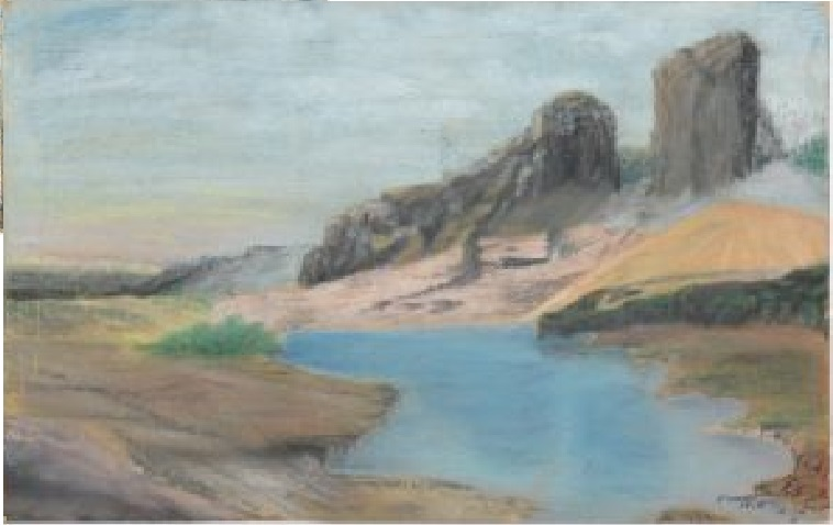 A pastel drawing of a patch of water surrounded by dry land and huge rocks in the background.