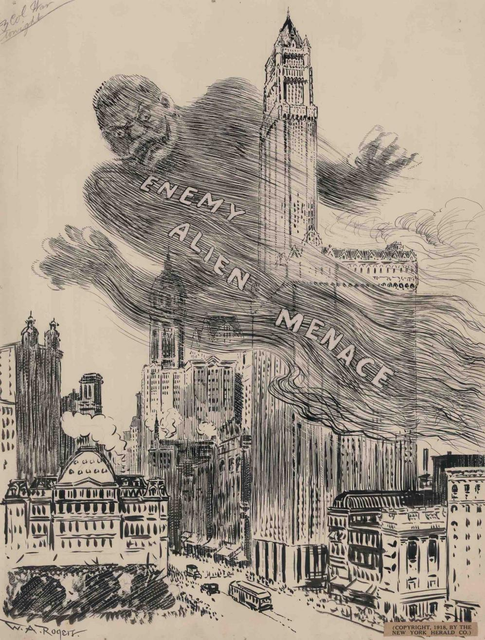 "Political cartoon depicting a frowning ghost labeled ""enemy alien menace"" hovering over the skyline of a big city."
