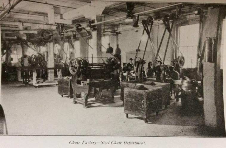 An assembly of machines to make steel chairs in the factory.
