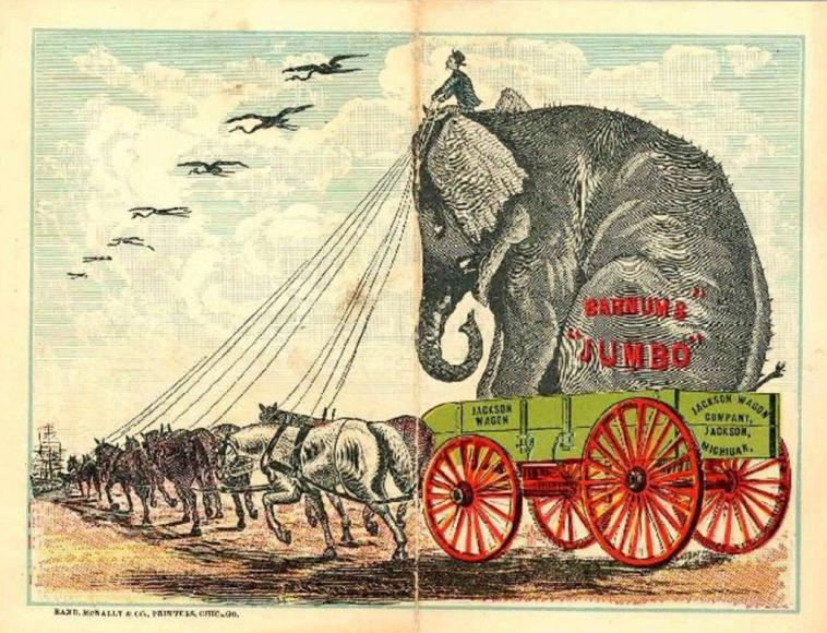 A cartoon drawing of a circus elephant being carried by a horse drawn carriage.