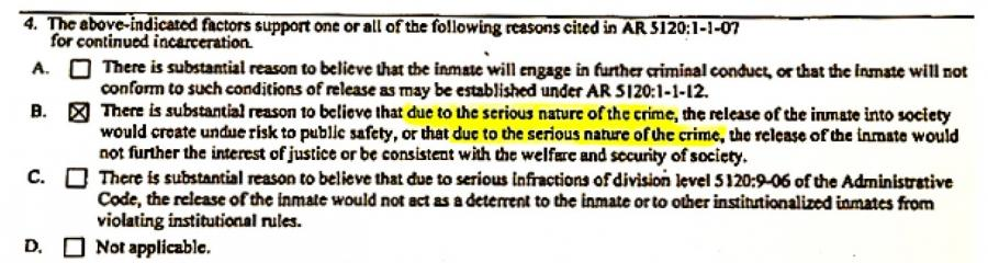 A photo of a portion of an Ohio parole denial form with the phrase due to the serious nature of the crime highlighted.