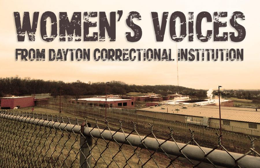 "An aerial photo of Dayton Correctional Institution in Ohio with the text ""Women's Voice From Dayton Correctional Institution"" written over it."