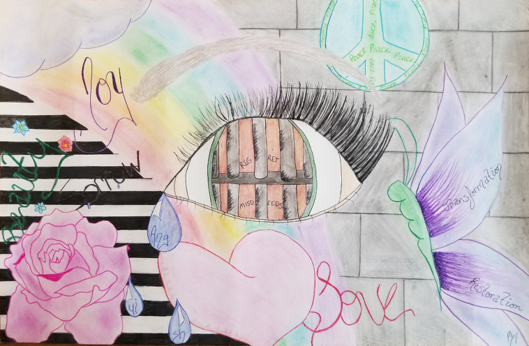 Hand drawn abstract artwork depicting an eye against a brick wall with prison cell bars within the eye.