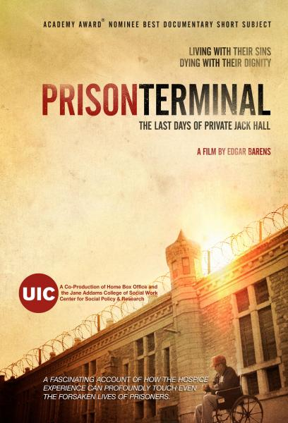 A red and orange colored poster for Prison Terminal, a film by Edgar Barens. It features a man in a red hat sitting in a wheel chair in front of a prison building enclosed by barbed wire.